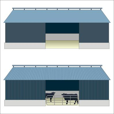 simple and more detailed cattle shed